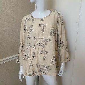Cut Loose Cream Rayon Embroidered A-Line Top XL